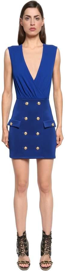 Balmain Double Breasted Jersey Dress