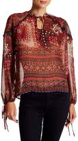 Romeo & Juliet Couture Long Sleeve Printed Chiffon Blouse