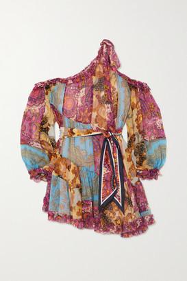 Zimmermann Fiesta One-shoulder Paisley-print Silk-chiffon Mini Dress - Blue