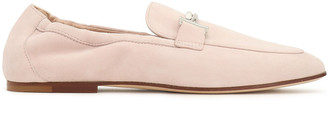 Tod's Embellished Suede Collapsible-heel Loafers