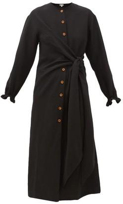 Belize - Lea Tie-waist Crepe Midi Shirtdress - Womens - Black
