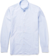 Caruso Slim-Fit Grandad-Collar Striped Slub Cotton and Linen-Blend Shirt