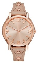 Merona Women's Neutral Fatback Strap Watch Tan/Rose Gold