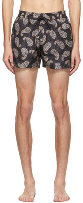 Salvatore Ferragamo Navy Paisley Swim Shorts