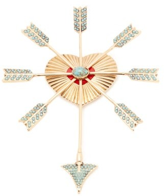 Etro Stone-embellished Heart And Arrow Brooch - Womens - Blue Gold