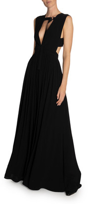 Proenza Schouler Deep V-Neck Sleeveless Maxi Dress w/ Strap Detail