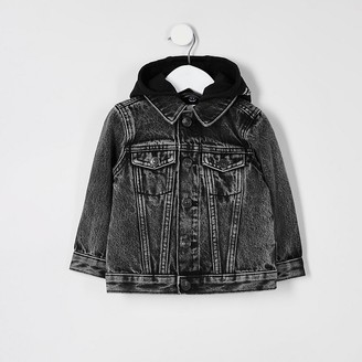 River Island Mini boys black Prolific hooded denim jacket