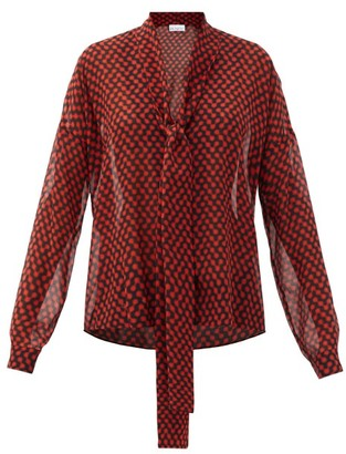 Raey Pussy-bow Polka-dot Silk Crepe De Chine Blouse - Red Print