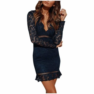 Moent Women Clothes Moent Women Sexy V-Neck Lace Long Sleeve Solid Color Mini Dress