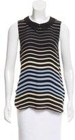 L'Agence Striped Silk Top