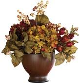 Nearly Natural Brown Autumn Hydrangea with Round Vase