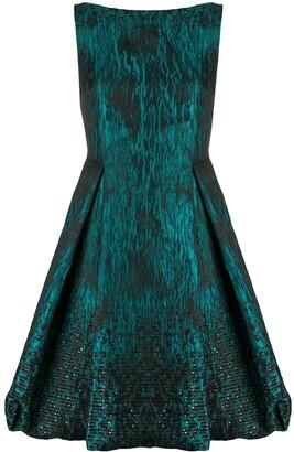 Talbot Runhof Sequin Jacquard Flared Dress
