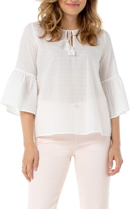 Liverpool Ruffle Sleeve Popover Blouse