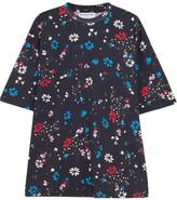 Balenciaga Oversized Floral-print Cotton-jersey T-shirt - Midnight blue