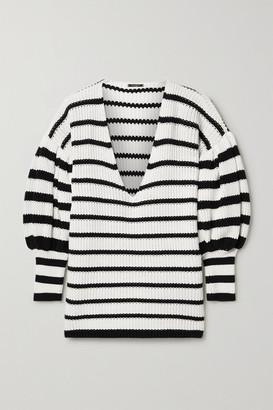 Caroline Constas Striped Ribbed Cotton Sweater - Black
