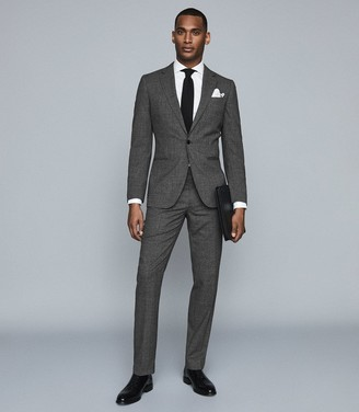 Reiss VIPER SLIM FIT TEXTURED TROUSERS Charcoal