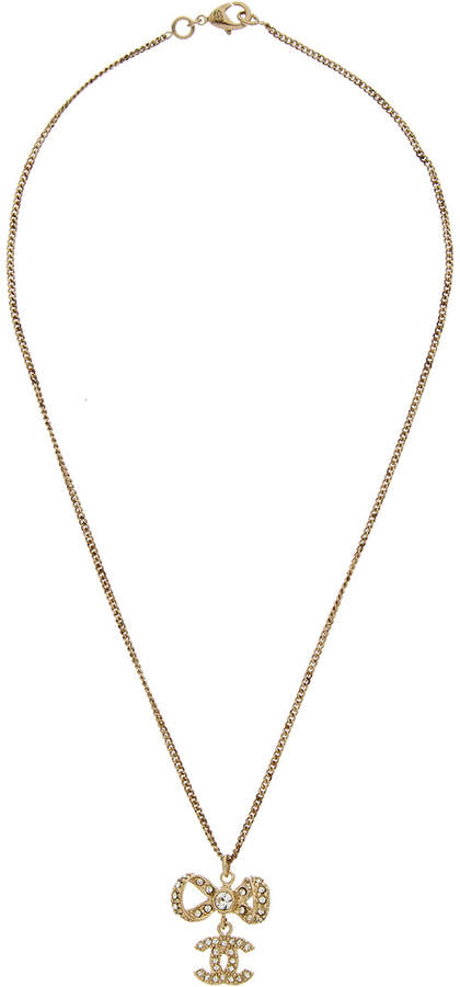 Chanel Gold-Tone & Crystal Cc Bow Necklace