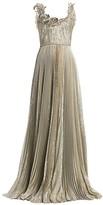 Oscar de la Renta Metallic Plisse Gown