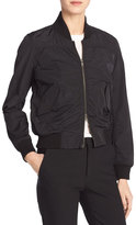 Vince Washed Shrunken Bomber Jacket, Black