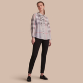 Burberry Ruffle Detail and Lace Trim Check Cotton Shirt