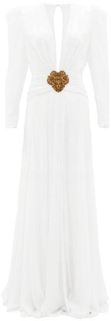 Dundas Plunge-neckline Silk-crepe Gown - White