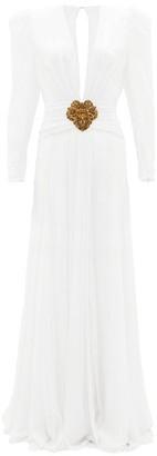 Dundas Plunge-neckline Silk-crepe Gown - Womens - White