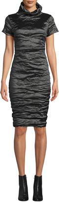 Nicole Miller High-Neck Short-Sleeve Techno Metal Dress