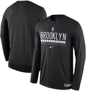 Nike Men's Black Brooklyn Nets Essential Practice Legend Performance Long Sleeve T-Shirt