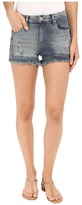 Blank NYC Patchwork High Rise Shorts in Rough Patch