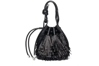behno Ina Mini Crossbody Raffia Fringe Black