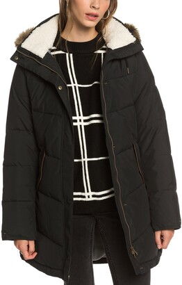 Roxy Ellie Waterproof Hooded Puffer Jacket with Removable Faux Fur Trim