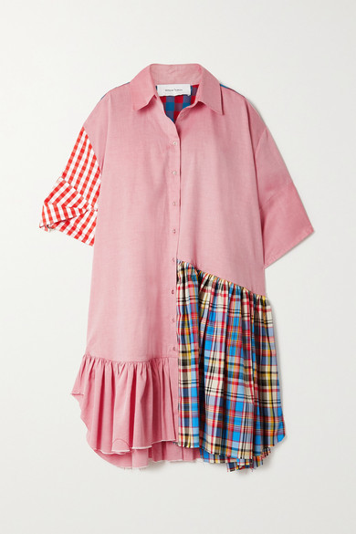 Marques Almeida + Net Sustain Rem'ade By Oversized Patchworked Twill Shirt Dress - Pink