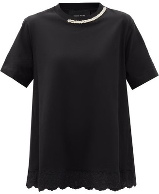 Simone Rocha Faux Pearl-embellished Cotton-jersey T-shirt - Black