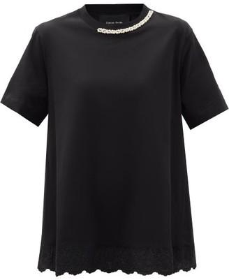 Simone Rocha Faux-pearl Embellished Cotton-jersey T-shirt - Black
