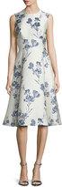 Lela Rose Juliet A-Line Dress, Ivory/Blue