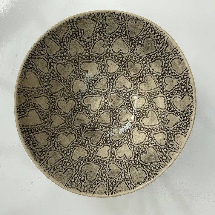 Bill & Edna - Serving Bowl in Charcoal Organic Mixed Patterns - charcoal - Charcoal