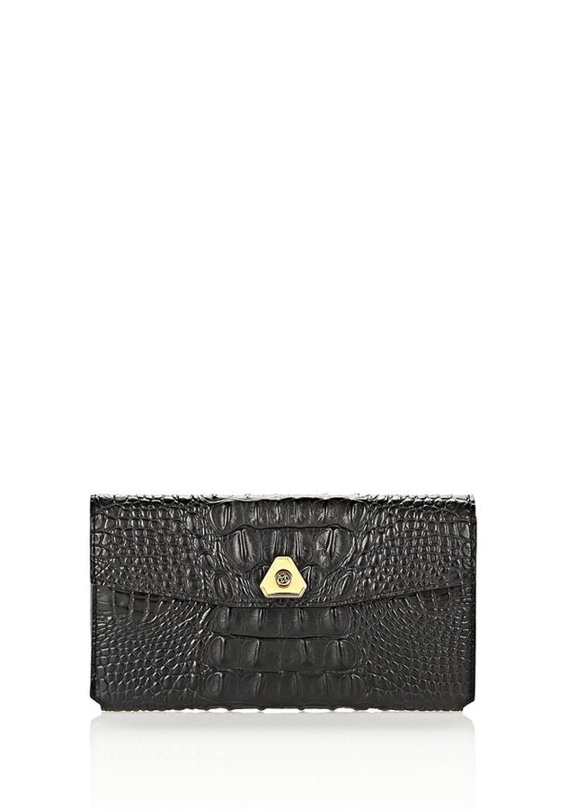 Alexander Wang Trigone Wallet In Embossed Black With Yellow Gold