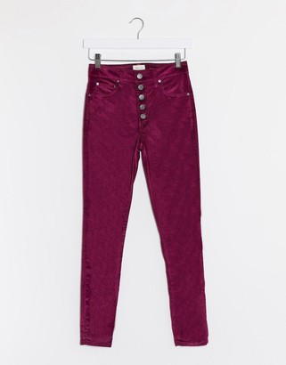 Alice + Olivia Jeans high rise velvet jeans with exposed buttons in purple
