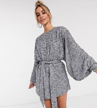 ASOS EDITION oversized blouson sleeve mini dress in mixed sequin