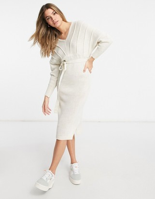 NaaNaa v-neck knitted jumper dress in stone
