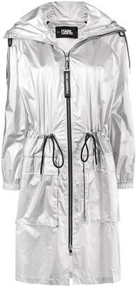 Karl Lagerfeld Paris Metallic Hooded Raincoat
