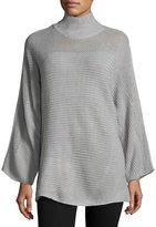 John & Jenn Aubrey Mesh-Inset Sweater, Light Gray