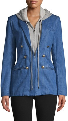 Central Park West Notch Lapel Cotton-Blend Double-Breasted Jacket