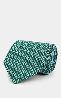 Salvatore Ferragamo Men's Guitar-Print Silk Twill Necktie - Green