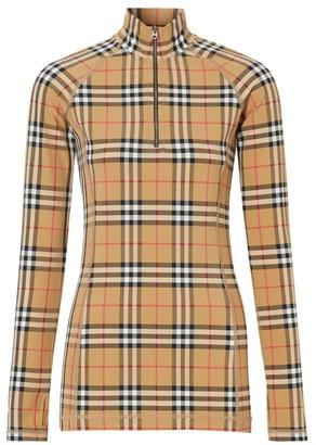 Burberry Vilan Check Print Long Sleeve Jersey Top