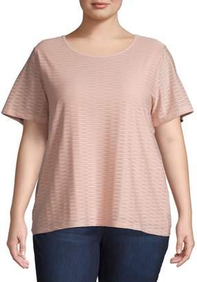 Calvin Klein Plus Metallic Striped Short-Sleeve Top