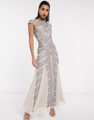 Maya all over embellished maxi dress in silver