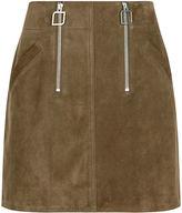 Courreges Khaki Suede Mini Skirt