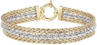 """Italian Gold 8"""" Two-Tone Rope Bracelet, 14K Gold 9.6g"""