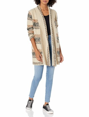 Angie Women's Tan Black Brown Inside Out Cardi Medium